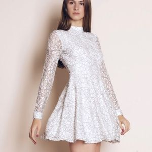 all white everything lace mini dress